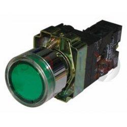 Μπουτόν πράσινο χωνευτό Φ22 1NO με επαφές και LED BW3361