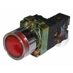 Μπουτόν κόκκινο χωνευτό Φ22 1NO με επαφές και LED BW3462L