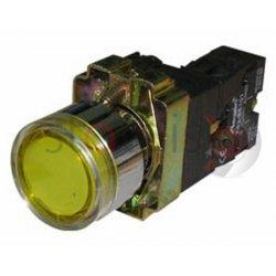 Μπουτόν κίτρινο χωνευτό Φ22 1NO με επαφές και LED BW3561
