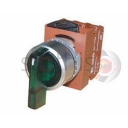 Διακόπτης πράσινος Φ22 1-0-2 2NO με λυχνία 24VAC/DC R2SIL-G RNY