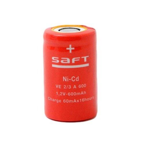 Μπαταρία 1 pc x 1.2V 2/3 ΑF 600mAh Νi-Cd με λαμάκι SFVE2/3A SAFT