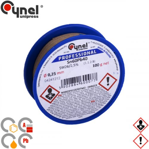 Κόλληση 100gr 60/40 0,25mm S-SnPb40 Cynel