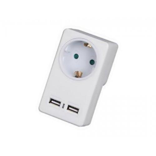 Πρίζα ρεύματος μονή με 2 θύρες USB 2100mA λευκό KF-GZB-01 Telco