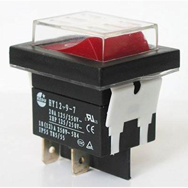 Διακόπτης rocker μεγάλοι ΟΝ-OFF 20A 250V 4pin HY12-9-7 μαύρος αδιάβροχος ip55 χωρίς λυχνία KEDU