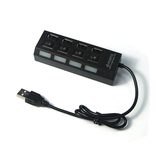HUB USB 2.0 40cm με 4 θύρες και διακόπτες ON/OFF μαύρο Shenshen