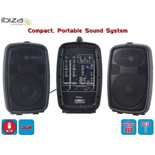 """Φορητό ηχοσύστημα συμπαγές 8""""/20cm 150W COMBO208-VHF Ibiza Sound"""