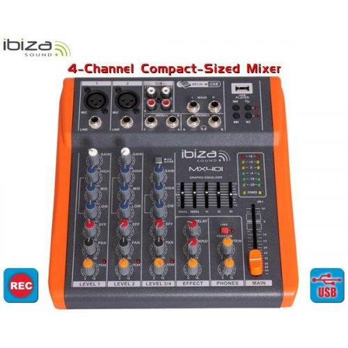 Μίκτης ήχου 4 καναλιών μικρού μεγέθους MX401 Ibiza Sound