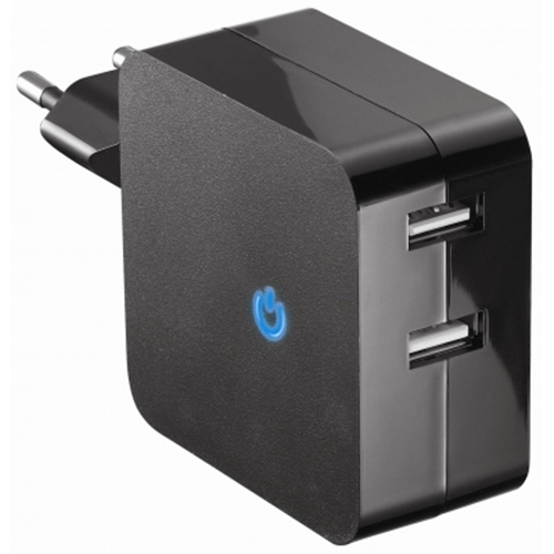 Τροφοδοτικό 230V In -> 2 x USB A Out 5V 4.8A MW-USB5U-1 Minwa
