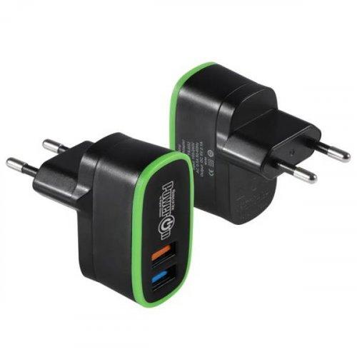 Τροφοδοτικό 230V in-> 2 x USB out 5V 2.1A μαύρο CH-35K V2.0 Power On