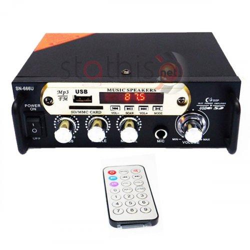 Ενισχυτής μικροφωνικός 12VDC + 230VAC 2x15W 1xMIC/USB/FM/Bluetooth SN-666U MEGA-SOUND