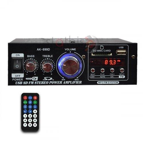 Ενισχυτής ήχου 12VDC + 230VAC 2x15W USB/FM/Bluetooth AK-699D MEGA-SOUND