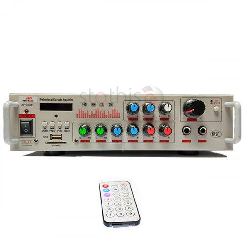 Ενισχυτής μικροφωνικός 12VDC + 230VAC 2x80W 2xMIC/USB/FM/Bluetooth AV-313BT MEGA-SOUND