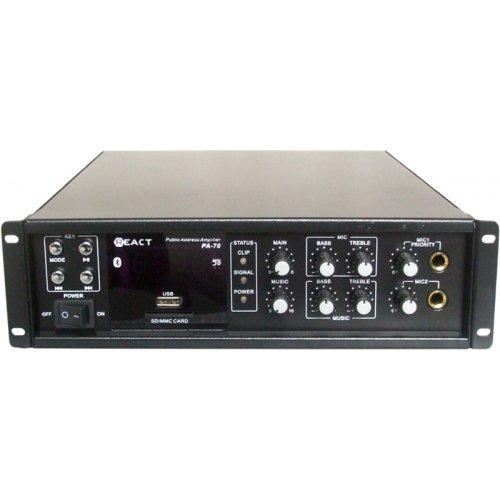 Ενισχυτής μικροφωνικός 150W 100V 2xMIC/USB/FM/Bluetooth PA-70 REACT