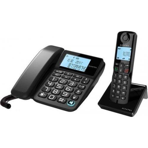 Τηλέφωνο ενσύρματο και 1 ασύρματο μαύρα S250 Combo Alcatel