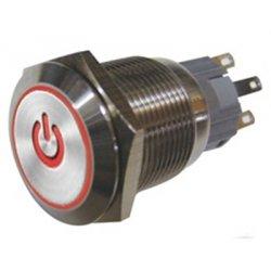 Μπουτόν διακόπτης On-Off μεταλικός στρογγυλός Φ19 με κόκκινη λυχνία power HBS1-AGQ