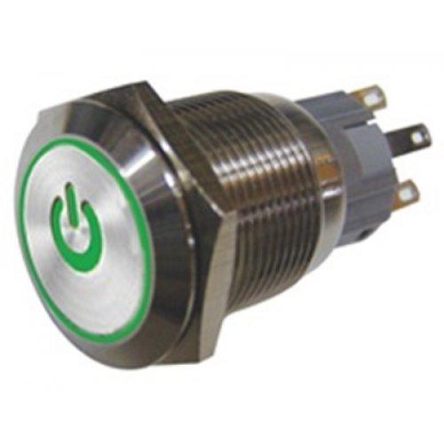 Μπουτόν διακόπτης On-Off μεταλικός στρογγυλός Φ19 με πράσινη λυχνία power HBS1-AGQ