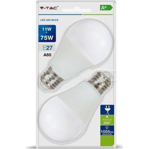 Led κοινή A60 11W E27 220-240V thermoplastic cool white 4000K 7298 VT-2111 pack 2pcs V-TAC