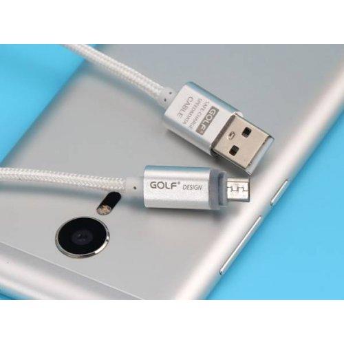 Καλώδιο φόρτισης & συχρονισμού USB A -> USB B micro 1m 2.1A ασημί GC-10 GOLF