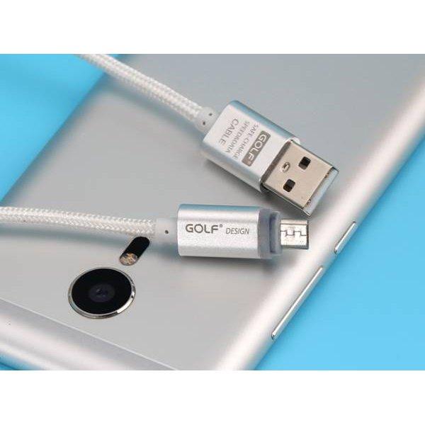 Καλώδιο φόρτισης & συχρονισμού USB A ->USB B micro 1m 2.1A silver GC-10 GOLF