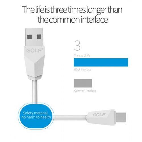 Καλώδιο φόρτισης & συχρονισμού USB A -> type c 1m 2.1A ασημί GC-27T GOLF