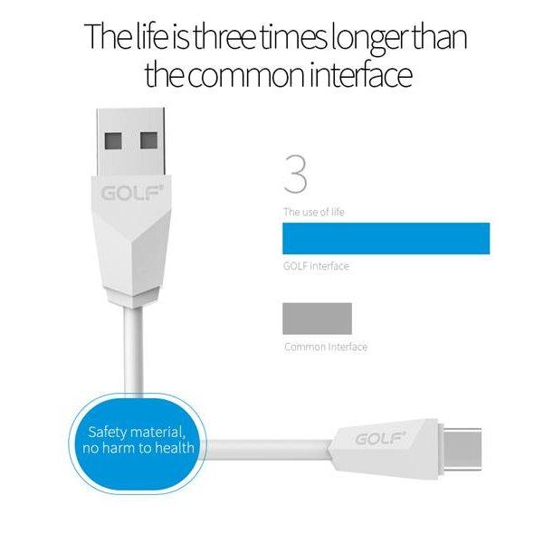 Καλώδιο φόρτισης & συχρονισμού USB A -> Type c 1m 2.1A silver GC-27T GOLF
