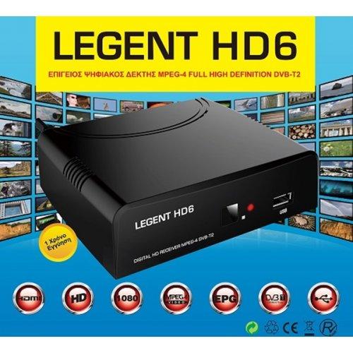 Δέκτης MPEG 4 DVB-T DVB-T2 επίγειος ψηφιακός HD6 LEGENT