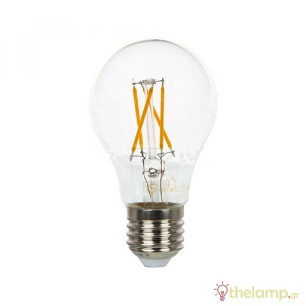 Led κοινή filament cross A60 4W E27 220-240V διάφανη warm white 3000K dimmable VT-1885D 43641 V-TAC