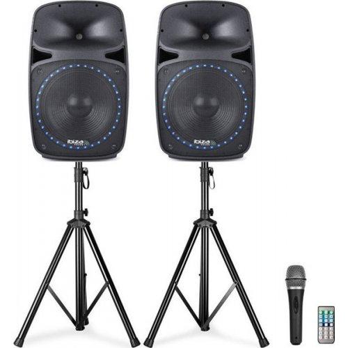 Ηχεία ενεργά 2x500W με μικρόφωνο/Bluetooth/USB/FM PKG15A-SET Ibiza Sound
