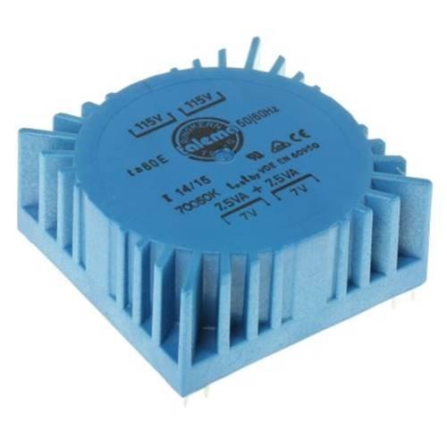 Μετασχηματιστής τοροϊδής PCB 15VA 2x7V 115v Nuvotem Talema