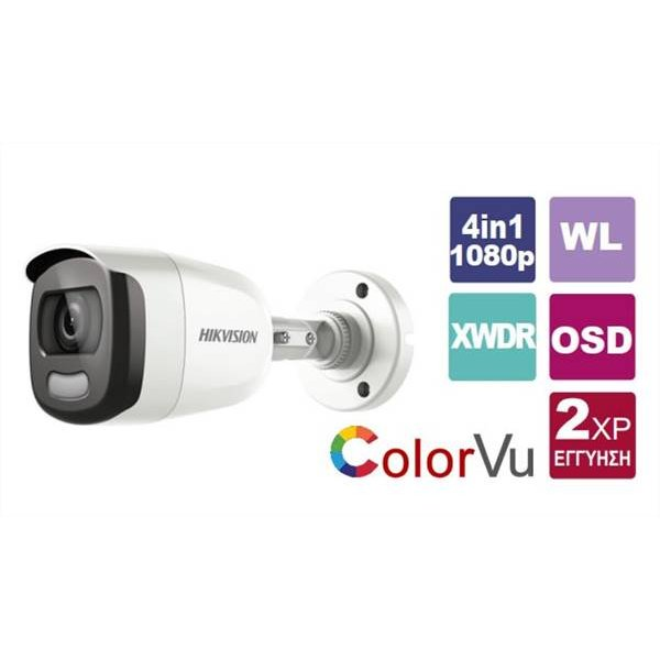 Κάμερα Bullet IR 3,6mm Turbo-HD 1080p ColorVu DS-2CE12DFT-F Hikvision