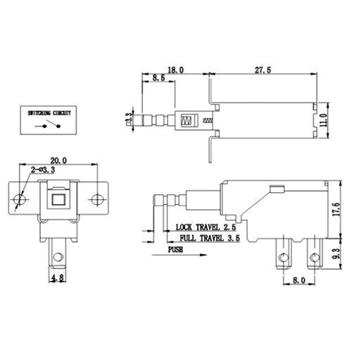 Διακόπτης push on 8A 250v 2pin Faston (4.8mm) PS5A-09-Y1-01 Szbej