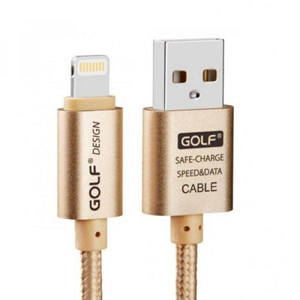 Καλώδιο φόρτισης & συχρονισμού USB A -> USB B micro 1m 2.1A χρυσό GC-10 GOLF
