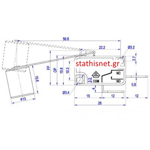 Διακόπτης micro switch με λαμάκι και βαρίδι 56,6mm 0,3 - 4,5N 16A 250V AC KW3-OZ Donghai