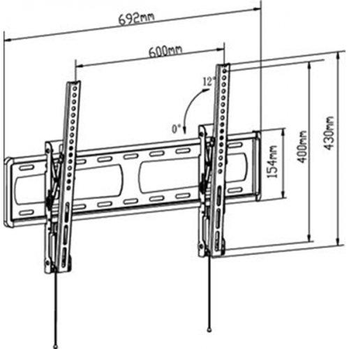 """Βάση LCD 32""""- 65"""" κλίση 0-12* μαύρη PSW-792MT"""