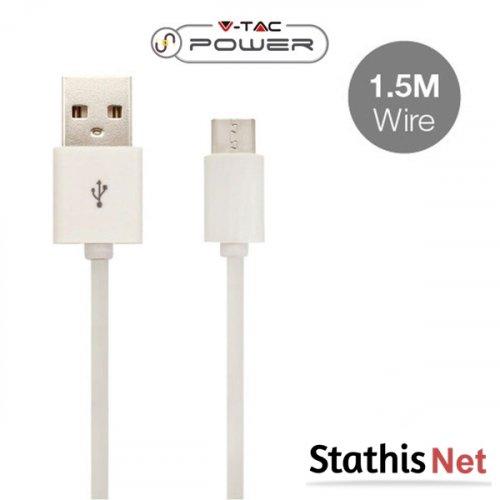 Καλώδιο φόρτισης και συγχρονισμού USB A -> micro USB 1.5m 2.4A λευκό 8450 VT-5332 V-TAC