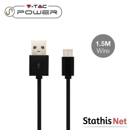 Καλώδιο φόρτισης και συγχρονισμού USB A -> micro USB 1.5m 2.4A μαύρο 8448 VT-5332 V-TAC