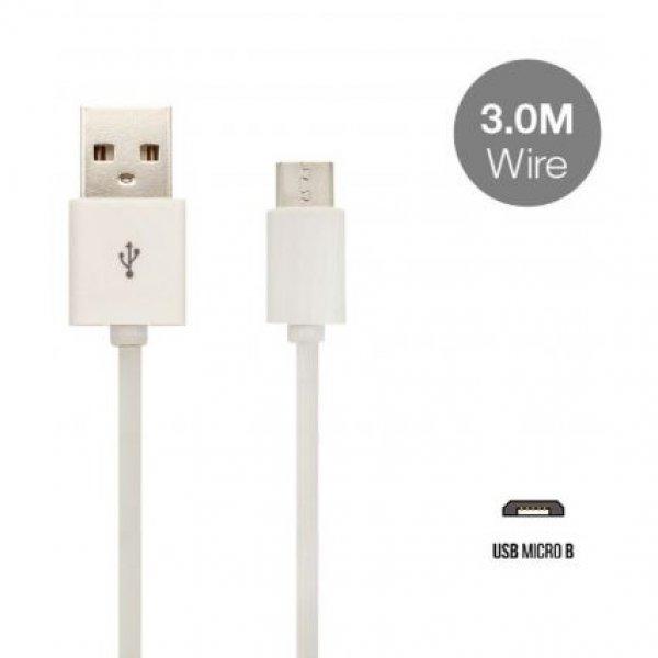 Καλώδιο φόρτισης και συγχρονισμού USB A -> micro USB 3m 2.4A άσπρο 8451 VT-5333 V-TAC