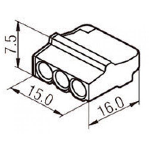 Σύνδεσμοι τερματικά καλωδίων 3pin 2.5mm κουμπωτά διαφανή πορτοκαλί PC213 HVP
