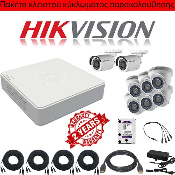 Προτεινόμενο πακέτο Sec4 κλειστού κύκλωματος παρακολούθησης 8 καμερών DS-7208HGHI-F1/N Hikvision
