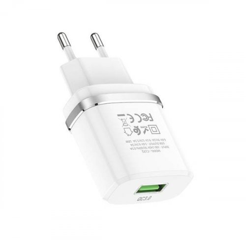 Τροφοδοτικό 230V in -> 1 x USB out 5V QC3.0 port 3.6-6.5V/3A 6.6-9V/2A 9.1-12V/1.5A 3A 18W Ασπρο C12Q hoco