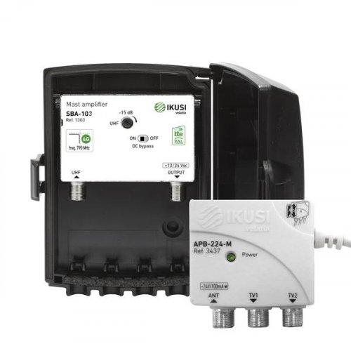 Ενισχυτής ιστού με τροφοδοτικό kit JSBA103-C48 + APB-224-M 1328 BOX IKUSI