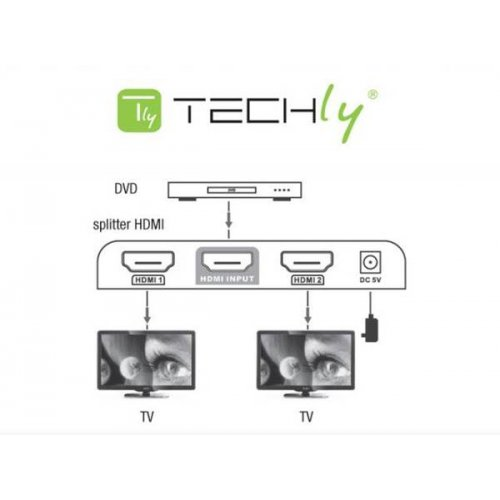 Splitter HDMI 1 In -> 2 Out V2.0 4K UHD 3D IDATA HDMI-4K2Ε Techly