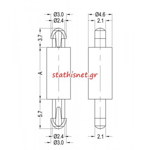 Αποστάτης πλαστικός 2mm PCB 8G806V40099 Dremec
