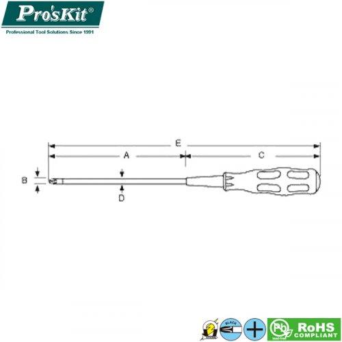 Κατσαβίδι μαγνητικό σταυρός # 2x40mm 9SD-220B ProsKit