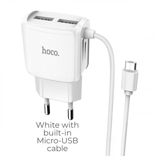 Τροφοδοτικό 230V in -> 2 x USB out 5V 2.1A Άσπρο με καλώδιο Micro USB C59A Hoco