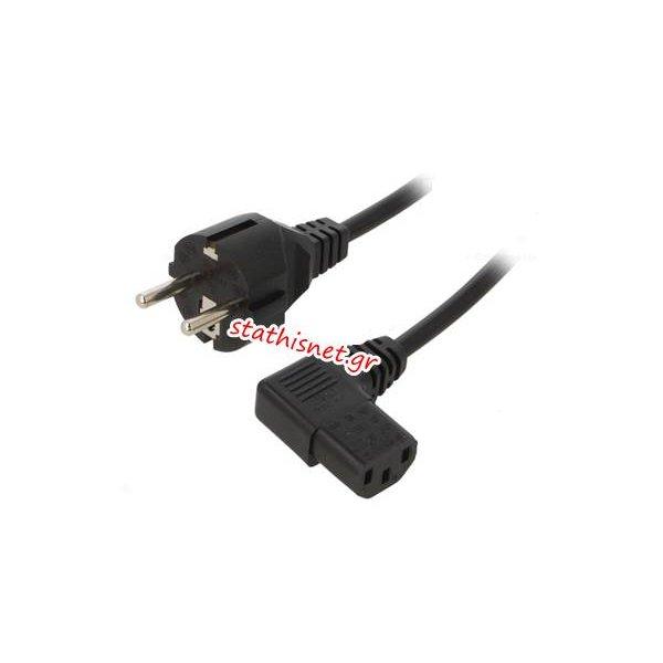 Καλώδιο τροφοδοσίας αρσενικό σούκο ευθείο -> θηλύκο γωνία 90* IEC-C13 3x1.0mm 5,0m μαύρο Lian Dung